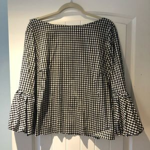 Black and white gingham blouse